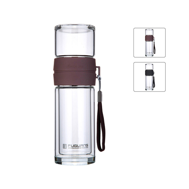 Clear Gl Drink Water Bottle With Tea Infuser Filter Coffee Tumbler Travel Mug Double Layer Teapot