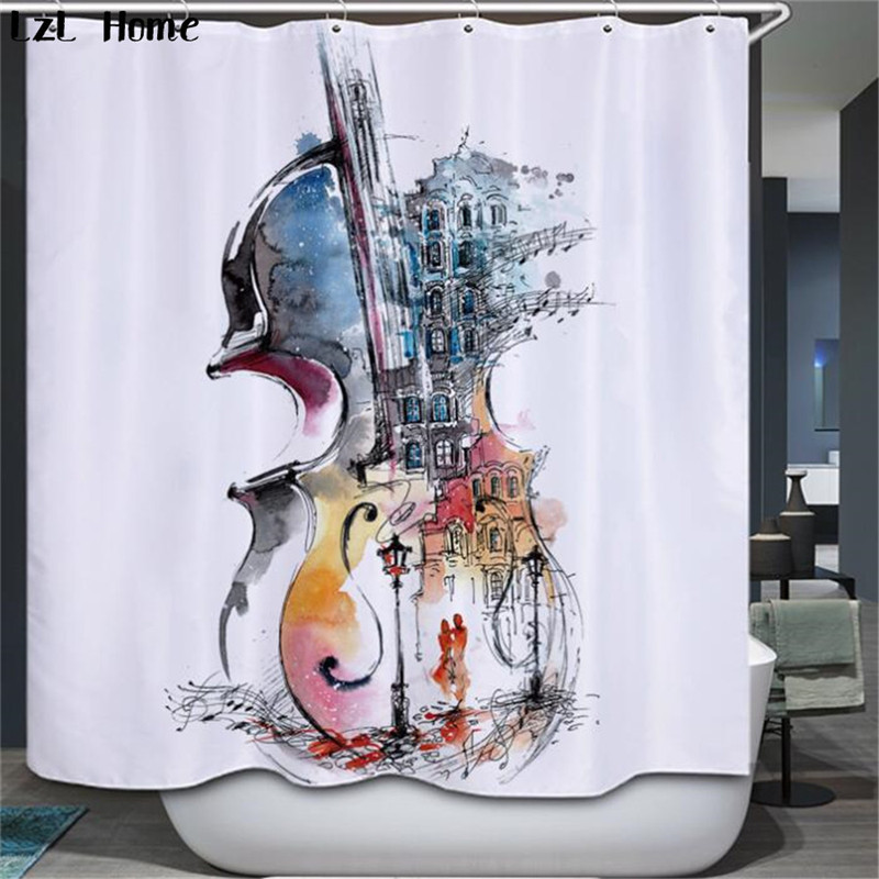 LzL Home piano violin shower curtains 3d new waterproof bath curtains Chinese ready made luxury high quality bathroom decoration zwbra shower curtain