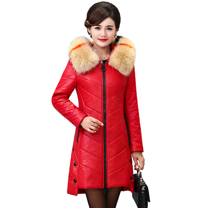 Plus size 7XL 2018 winter Genuine   Leather   coat women Thicken Cashmere jackets female sheepskin Outerwear Hooded top Warm jackets
