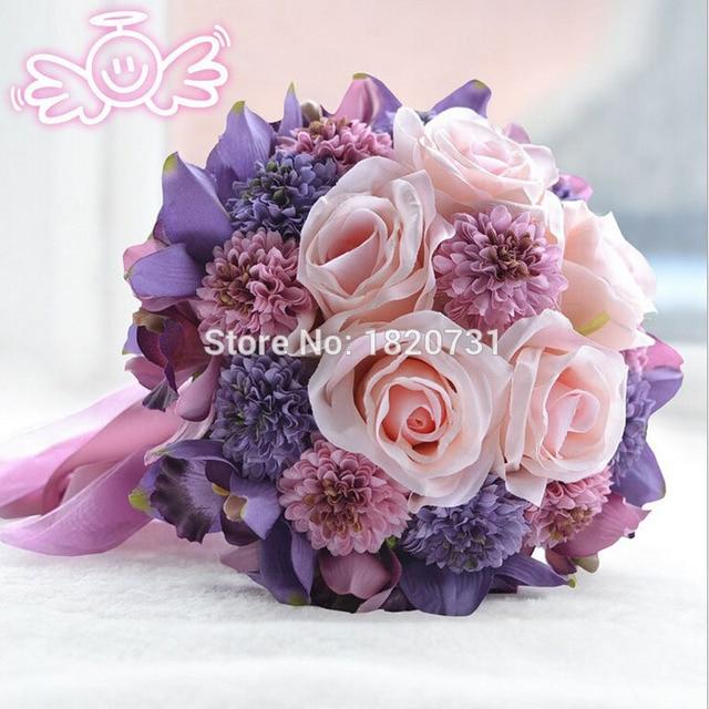 Свадебные Цветы Свадебные Букеты Пурпурная Роза Романтический Искусственный Свадебный Букет букет де mariage Кристалл Горячей Продажи