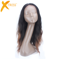 Ombre Brown Color Lace Front Synthetic Wigs With Baby Hair X TRESS Long Natural Wave Heat Resistant Fiber Free Part Lace Wig