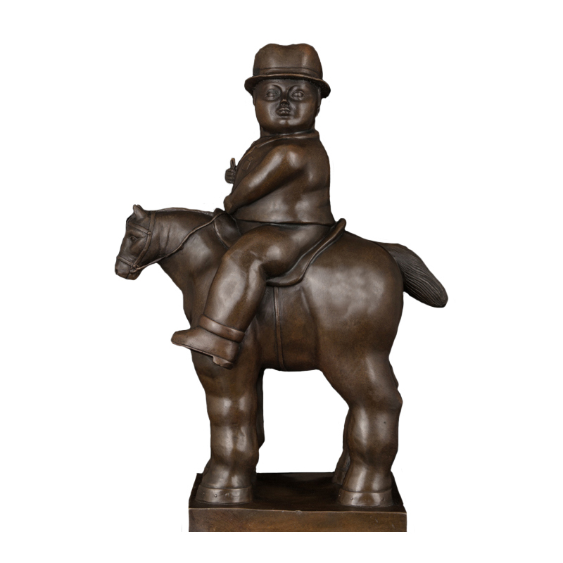 art style famous fernando botero bronze fat man riding on fat horse statue sculpture for collectionart style famous fernando botero bronze fat man riding on fat horse statue sculpture for collection