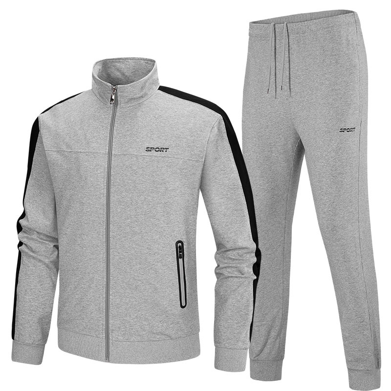 New Autumn Pure Cotton Running Sets Men Sport Suits Sportswear Set Fitness Training Warm Tracksuit Zipper Pocket Jogging Suit mjkaa