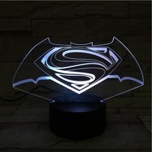 Superman Batman Logo Usb 3d Led Night Light Cartoon Superhero Boys Kids Birthday Gifts Table Lamp Bedside Dc Justice League