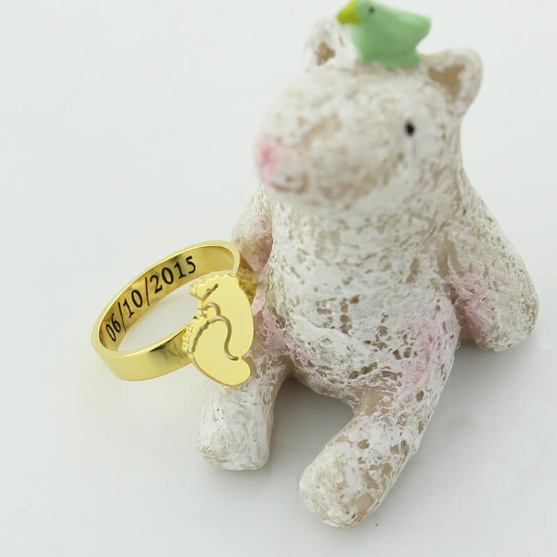 Wholesale personalized baby feet ring gold color engrave namedate wholesale personalized baby feet ring gold color engrave namedate ring cute baby footprint new mom gift mothers ring in rings from jewelry accessories negle Choice Image