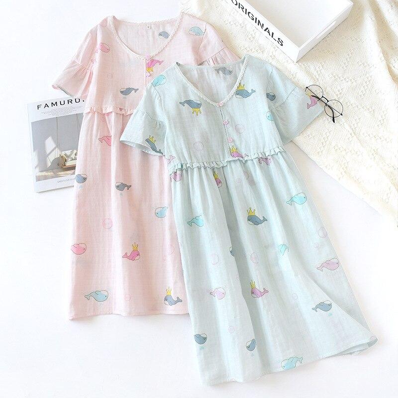 Summer New Gauze Nightgown Little Whale Sexy Sleepwear Cartoon Sleeping Dress 100% Cotton Lovely Girl Comfortable Home Skirt
