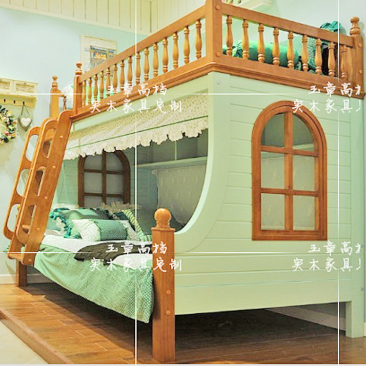 Barato americano ni os litera camas de madera maciza cama for Literas de madera para ninos
