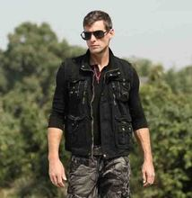 2015 Autumn And Winter Multi Pockets Waistcoat Male Photography Vest Men Military Uniform Army Jacket Plus Size H3272