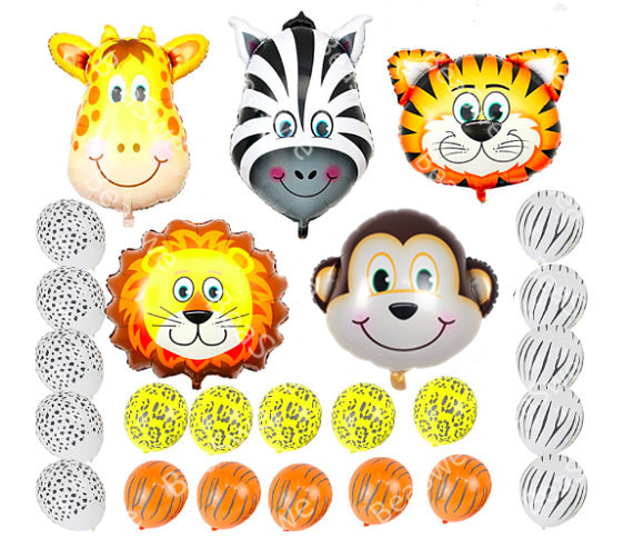 25pcs Theme Jungle Safari Latex Balls Animals Head Foil Balloons Baby Gifts Birthday Party Decorations Monkey Tiger Lion Zebra