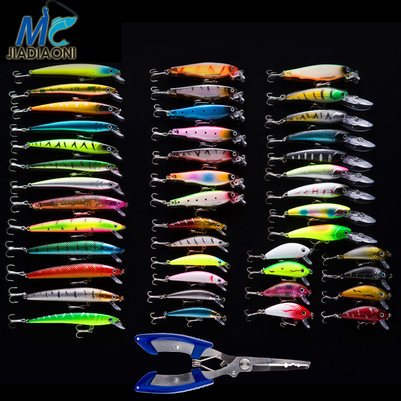 JIADIAONI 43pcs/lot+Fishing Pliers Fly Fishing Lure Set China Hard Bait Jia Lure Wobbler Carp Strength Pliers Useful For Fishing 5sheets pack 10cm x 5cm holographic adhesive film fly tying laser rainbow materials sticker film flash tape for fly lure fishing