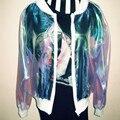 Nova moda das mulheres Do Laser Sinfonia Manga Morcego Camisa Protetor Solar fina casacos outerwear Jaqueta iridescente transparente Brilhante laser