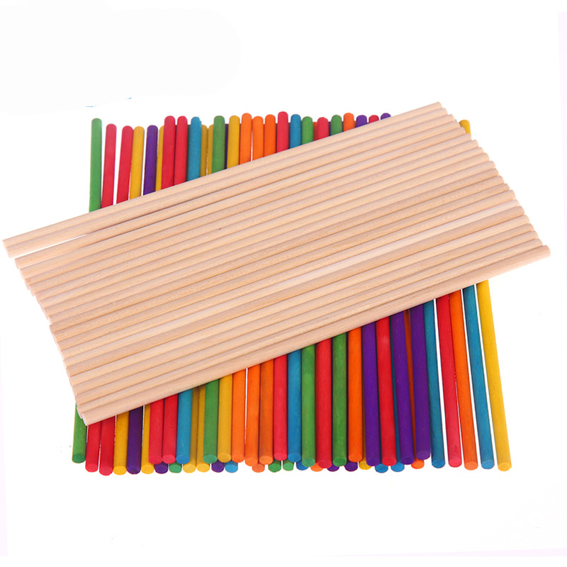 50Pcs/Set Colorful Round Stick Craft Toys DIY Handmade Toy Model Material Puzzle Wooden Game