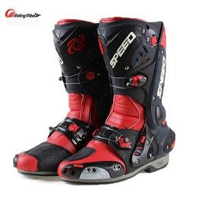Image 4 - Ulepsz buty motocyklowe Pro wyścigi otwieranie butów profesjonalna jazda antypoślizgowe skórzane buty motocyklowe Mircrofiber
