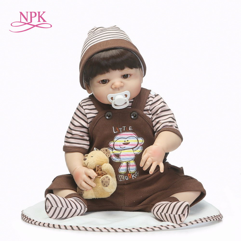 NPK Bebes reborn 46CM full silicone reborn baby boy dolls toys luxury set with bear child