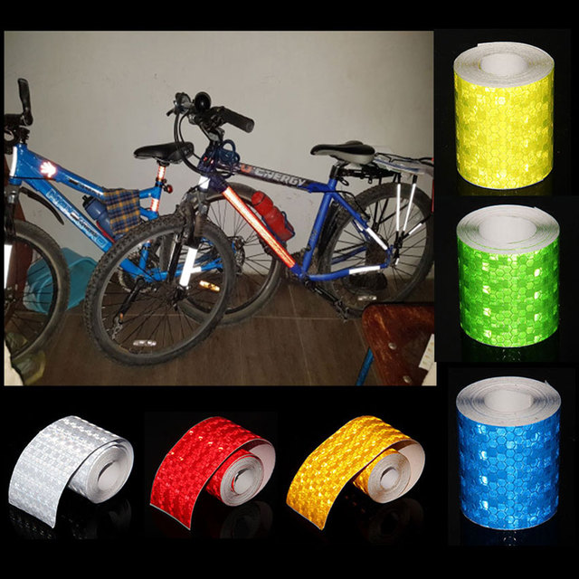Bicycle Accessories 5cmx3m Reflective Bicycle Stickers Adhesive Tape For Bike Safety White Red Yellow Reflective Bike Stickers