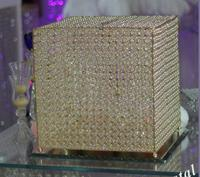 Gold Wedding Gift Card Box Crystal Money Box with Lock Beautiful Wedding Decoration Supplies for Birthday Party 35*35CM