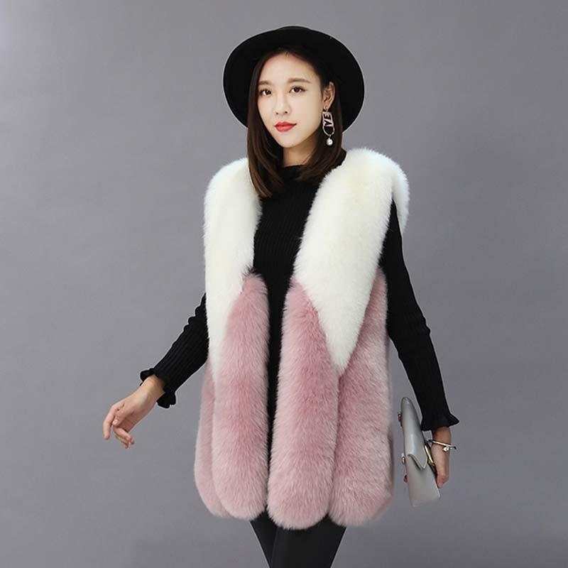 ZADORIN 2019 NEW Luxury Contrast Color Faux Fur Vest Women Plus Size Winter Long White Pink