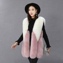 ZADORIN роскошный контрастный цвет жилет из искусственного меха Женский Плюс Размер зимний длинный белый розовый пальто из искусственного меха жилет меховой bontjas