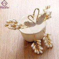 Creative Elegant Swan Baroque Bride Crown Earrings Set Vintage Graceful Joker Women Headwear Romantic Wedding Dress