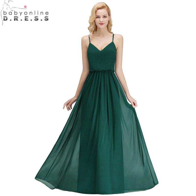 Sexy V Neck Chiffon Long   Bridesmaid     Dress   Spaghetti Straps Sleeveless Wedding Party   Dress   Robe Demoiselle D'honneur