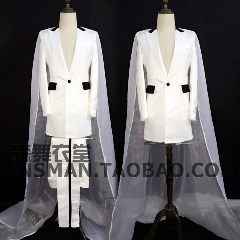 Male Singer DJ GD super stars Nightclubs Singer red long design suit costumes performance wear party show stage outfit