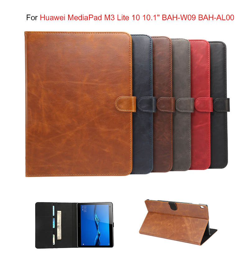Luxury Business Smart Case For Huawei MediaPad M3 Lite 10 BAH-W09 BAH-AL00 10.1 inch  pu leathr Cover Funda Tablet for Huawei Me coque smart cover colorful painting pu leather stand case for huawei mediapad m3 lite 8 8 0 inch cpn w09 cpn al00 tablet