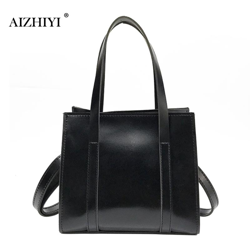 2b6d2a83c2 Korean Women PU Leather Simple Tote Handbags Ladies Large Casual Bag ...