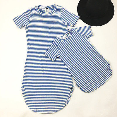 Mother-and-Daughter-Casual-Summer-Stripe-Dress-mommy-me-matching-set-outfits-1