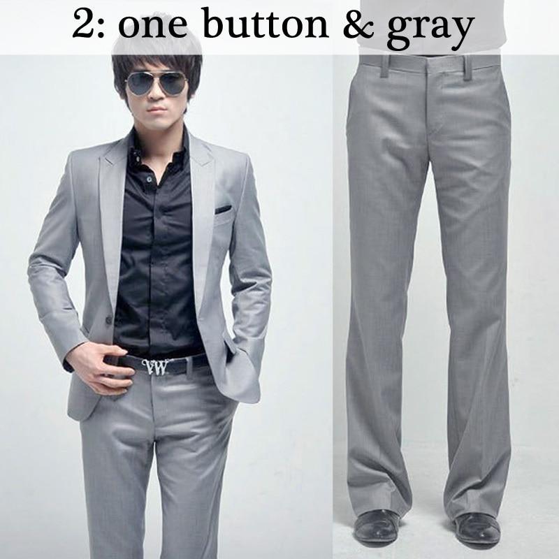 Для мужчин костюмы Тонкий Высокое качество смокинги Марка мужская деловая обувь модные Бизнес одежда высшего качества и штаны, лидер продаж,, B006 - Цвет: 2