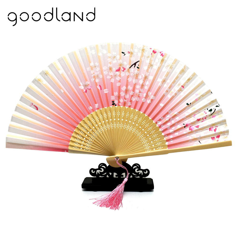 Free Shipping 5pcs Silk Cherry Blossom Print Hand Fan Wedding Party ...