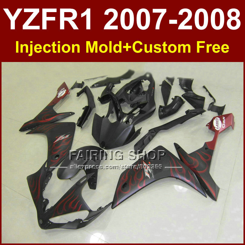 Motorcycle fairings set for YAMAHA YZFR1 2007 2008 YZF R1 YZF1000 YZF 1000 07 08 red flame in black fairing kit R1 SR4 motorcycle fairings fit for yamaha yzf r1 yzf 1000 yzf r1000 yzf1000 2007 2008 07 08 abs injection fairing bodywork kit a0802