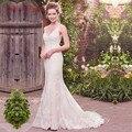 Vestido де Noiva Sexy V-образным Вырезом Свадебные Платья Русалка Аппликация Кружева Невесты Платья Свадебные Платья Casamento Robe de Mariage