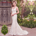 Vestido de Noiva Sexy V-Neck Wedding Dresses Mermaid Appliques Lace Bride Dresses Wedding Gowns Casamento Robe de Mariage