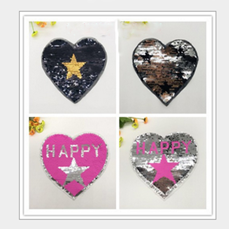 2 Styles Change Color Sequin Patches HAPPY Heart Star Reversible Sequin patch Applique Badge Sweater Garment Accessory 1 P C S