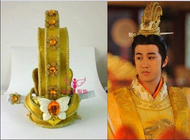 TV Play Legend of Chinese Empress Wu Mei Niang Emperor Golden Hair Tiaras Cosplay Men's Hair Piece 00009 red gold bride wedding hair tiaras ancient chinese empress hair piece