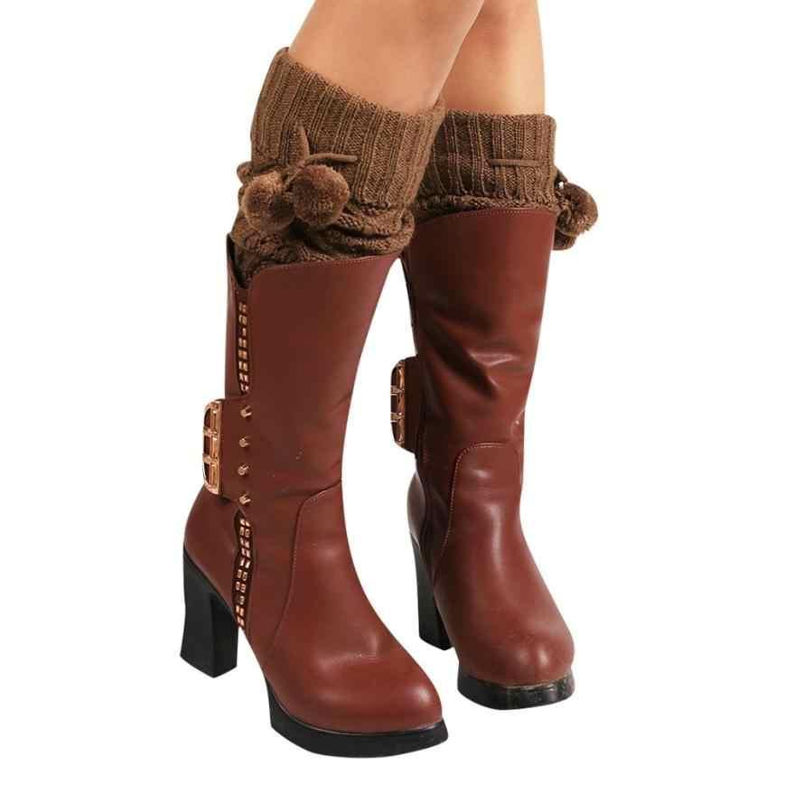 Moda mujer invierno cálido calcetines de punto calentadores de pierna arranque Crochet alta calidad largo mujeres calcetines cómodos pantorrilla proteger Hocok