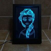 2016 אשליה המלכה אלזה 3D שלג חדש מנורת Led מסגרת תמונה 7 USB שינוי הצבע Led לילה אור בייבי מנורת לבה סוללה מופעל
