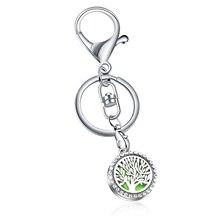 Mixed Tree Stainless Steel Perfume full Rhinestone KeyChain Essential Oil Diffuser Aromatherapy Locket Key Chain Jewelry
