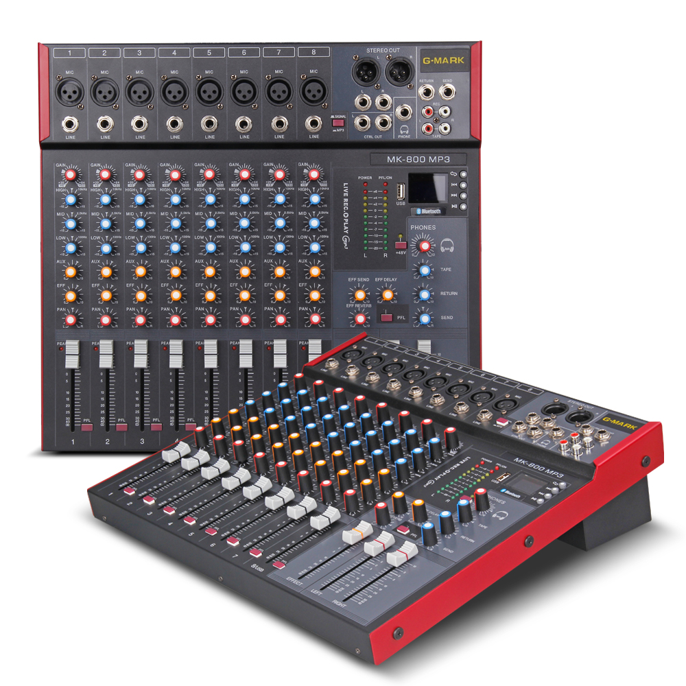 G-MARK MK800 Professional Mixer Audio Music Studio Console Stage Mixers Microphone Mixing DJ Party Church 48V Phantom Power