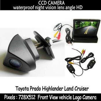 Waterproof Car CCD front View Camera + Monitor forToyota seriesToyota Prado Highlander Land Cruiser installed in the car logo