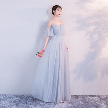 blue grey Bridesmaid Dress Long Mesh Wedding  Banquet Show Back of Bandage Sexy Prom for Party Vestidos