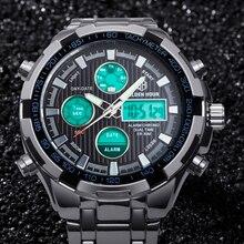 GOLDENHOUR Luxury Brand Men Sports Army Military Watches Men's Quartz Analog LED Clock Male Swimming Watch relogio masculino