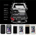 "Metal Extreme Shockproof Military Heavy Duty Tempered Glass Cover Case Skin for iPhone 6 6S 4.7""/Plus 5.5"" Full-Body Waterproof"