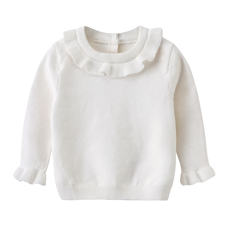 2Autumn Style Baby Girl Knitting Sweater Lotus Round Collar Knitting Kids Outfit Coat Cotton Soft Comfortable Pullover Cardigan Autumn