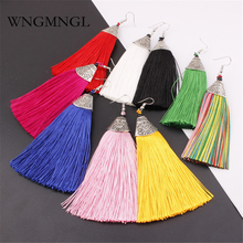 цена WNGMNGL Bohemia Handmade Long Statement Tassel Earrings Fashion Vintage Red Black Color Silk Drop Earrings For Women Jewelry