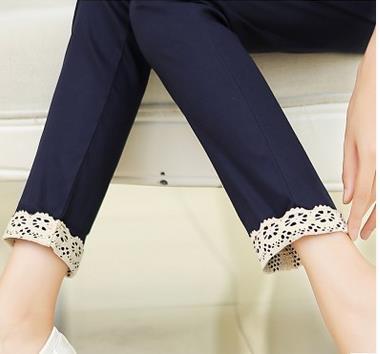 Cintura elástica rendas calças para grávidas primavera outono moda algodão gravidez harem barriga lápis para grávidas SH-S024