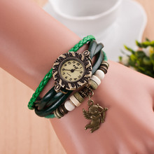 The Cupid  Pendant Leather Strap Wooden beads decoration Retro  Casual watch bronze Women wristwatch bracelet  Watch T3544