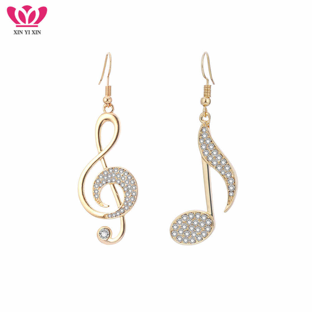Gold Silver Music Notes Drop Earrings Full CZ Clear Crystal Earring Musical Fans Big Earrings For Women Fashion Jewelry 2018