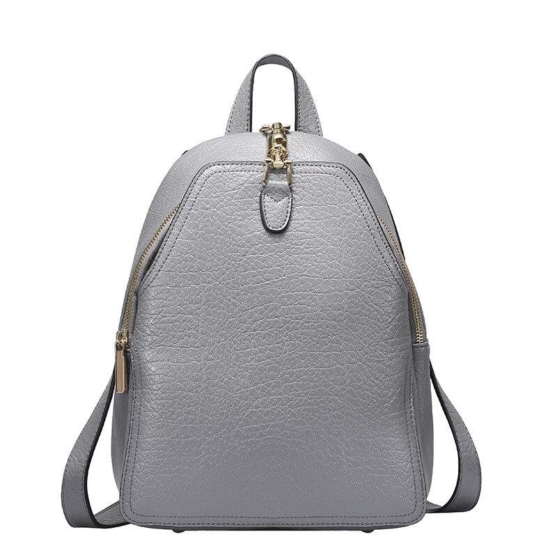 Prix spécial 100% sac à dos en cuir véritable pour femme mode classique Designer adolescents femme Designer sacs à dos blanc gris sac