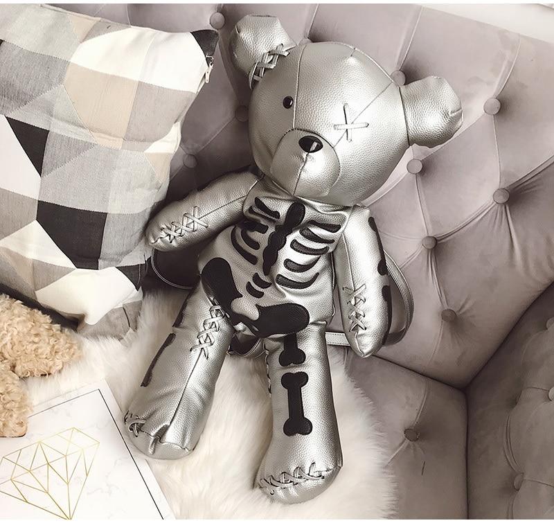 HTB1C6ewkv6H8KJjSspmq6z2WXXaw DIINOVIVO Fashion Skeleton Bear Female Backpack Punk Style School Bags Designer Backpacks for Adolescent Girls Gifts WHDV0324
